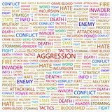 AGGRESSION. Word collage on white background. poster