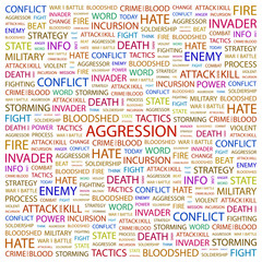 AGGRESSION. Word collage on white background.