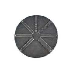 silver round metallic manhole isolated, way directions concept