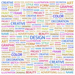 DESIGN. Word collage on white background.