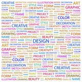 DESIGN. Word collage on white background.