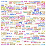 MEDIA. Illustration with different association terms. poster