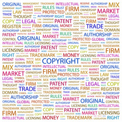 COPYRIGHT. Illustration with different association terms.