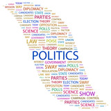 POLITICS. Collage with association terms on white background. poster