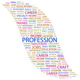 PROFESSION. Word collage on white background. poster