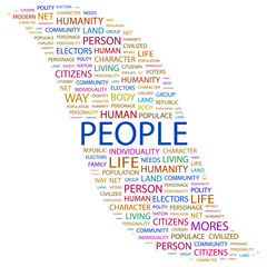 PEOPLE. Wordcloud illustration.