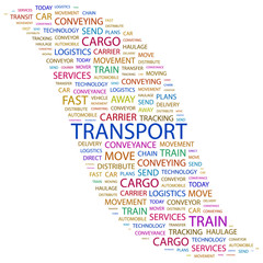 TRANSPORT. Word collage on white background.