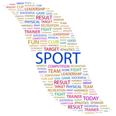 SPORT. Word collage on white background.