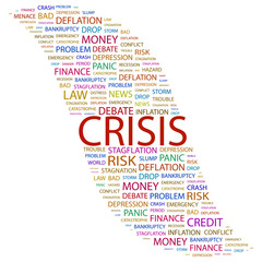 CRISIS. Wordcloud vector illustration.
