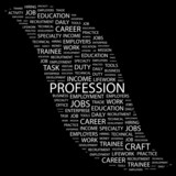 PROFESSION. Word collage on black background. poster