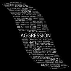 AGGRESSION. Collage with association terms on black background.