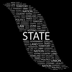 STATE. Collage with association terms on black background.