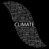 CLIMATE. Word collage on black background. poster