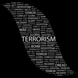 TERRORISM. Word collage on black background.