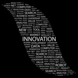 INNOVATION. Word collage on black background. poster