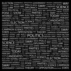 POLITICS. Word collage on black background.