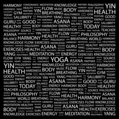 YOGA. Illustration with different association terms.