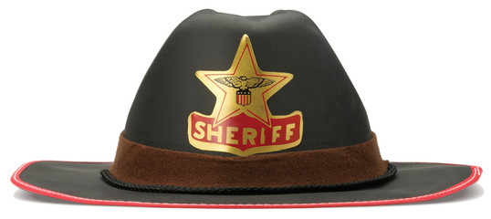 childrens sheriff cowboy dressing up hat on a white background