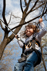 Little girl in a bungee
