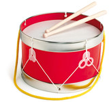 Drum and drum sticks on white background