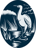 Heron wading in the marsh or swamp poster