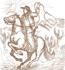 Cowboy with lasso riding a horse with cactus mountains