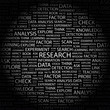 RESEARCH. Word collage on black background.