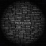 PROFESSION. Wordcloud vector illustration. poster