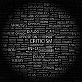 CRITICISM. Collage with association terms on black background. poster