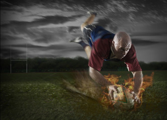 Rugby Player making a Fiery Touch Down
