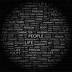 PEOPLE. Word collage on black background.
