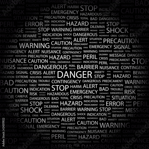 DANGER. Word collage on black background.