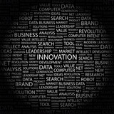 INNOVATION. Collage with association terms on black background. poster