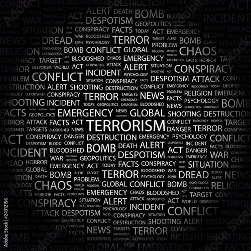 TERRORISM. Wordcloud vector illustration.