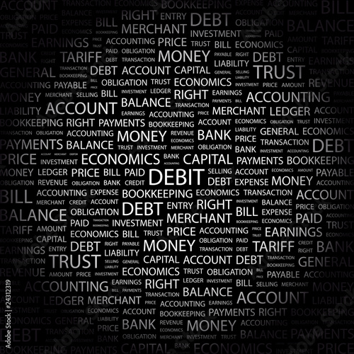 DEBIT. Illustration with different association terms.