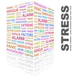 STRESS. Collage with association terms on white background.