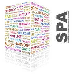 SPA. Word collage on white background.