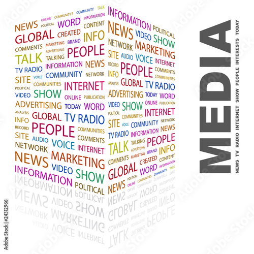 MEDIA. Wordcloud illustration.