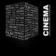 CINEMA. Illustration with different association terms.