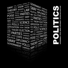 POLITICS. Illustration with different association terms.