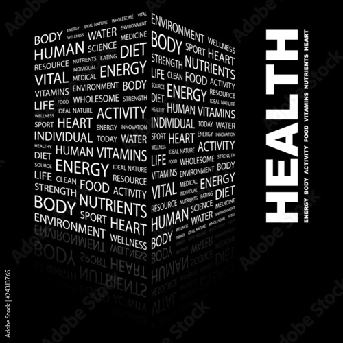 HEALTH. Illustration with different association terms.
