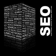 SEO. Illustration with different association terms.