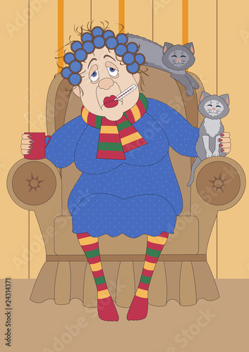 old sick woman sitting in the armchair