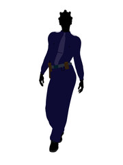 African American Female Police Officer Silhouette