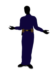Male Police Officer Art Illustration Silhouette