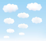 White clouds in a blue sky. Vector.
