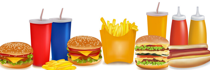 Big group of fast food products. Photo-realistic vector.