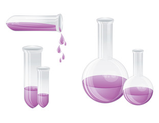 Laboratory bottles, vector