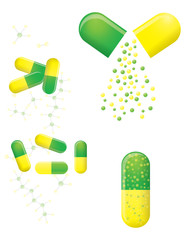 Green and yellow pills