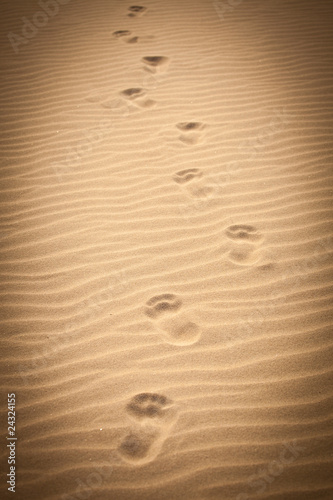 Footprints in rippled sand